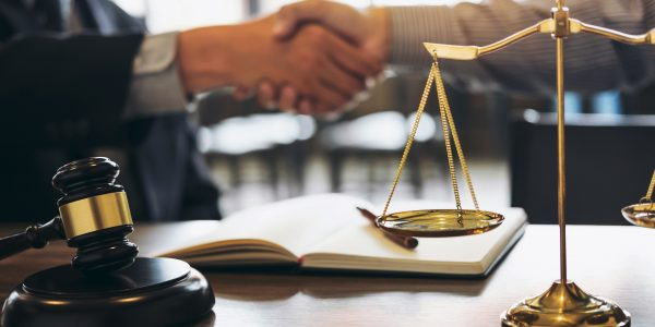 Handshake,After,Good,Cooperation,,Consultation,Between,A,Male,Lawyer,And